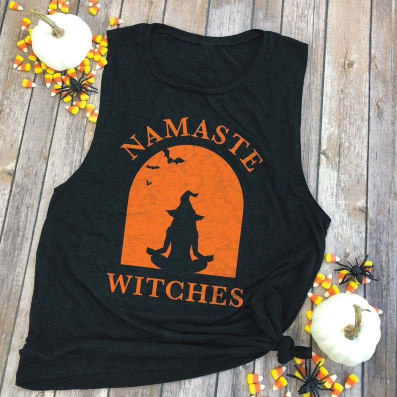 19185bdf04 Namaste Witches Shirt Witch Muscle Tee Shirt Funny Yoga | Etsy
