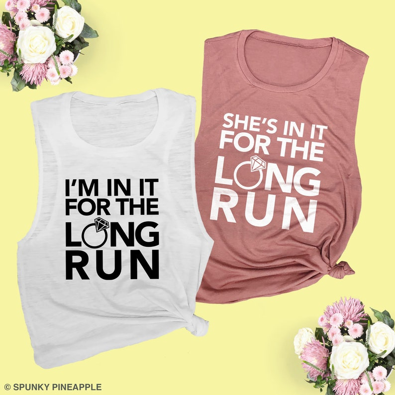 In It for the Long Run Bachelorette Party Running Muscle Tanks