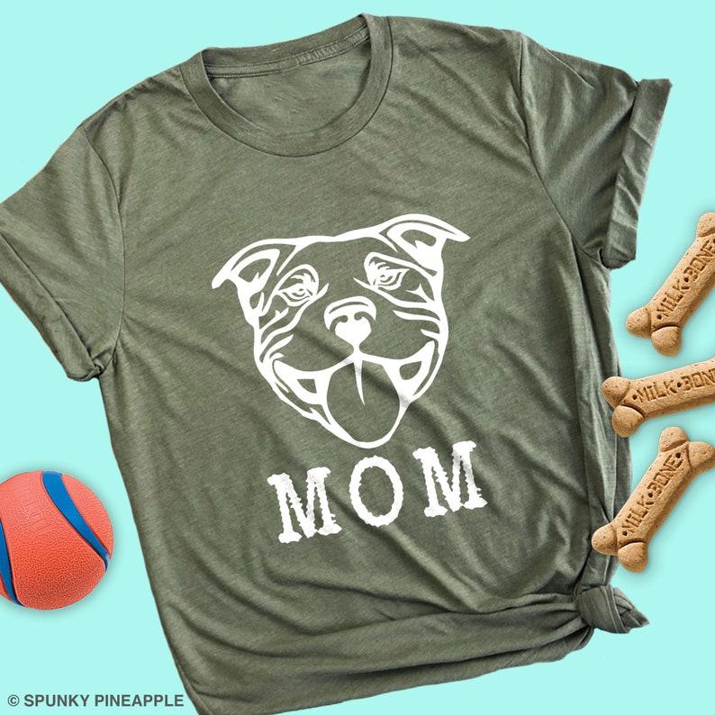 Pit bull Mom Cute Dog Graphic Short Sleeve Shirt  Women/'s T shirt Black Tee S-XL