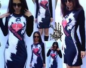 Original print dress, Punk clothing, Long sleevs dress, Tights, Tattoo Art Inspired, Gothic Club Dress