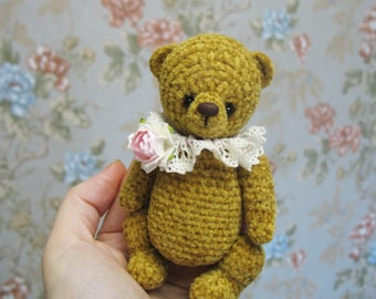 Crocheted velvet bear cub  Teddy bear handmade