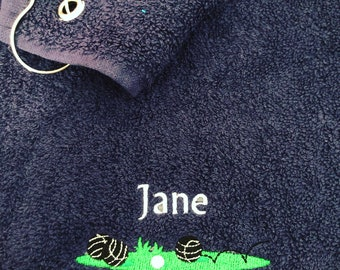 Personalised Lawn bowls, towel with metal clip