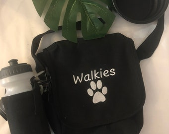 Embroidered Dog walking kit, Bag, water bottle, collapsable dog bowl, and poop bags