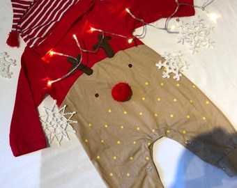 Personalised Baby Christmas outfit, Reindeer suit with embroidered named hat.