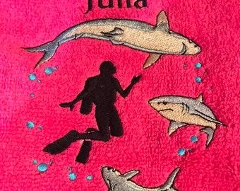 Scuba diving shark personalised towel