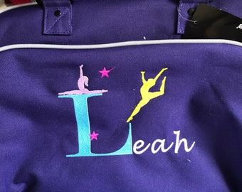 Junior gymnastic, Dance, Ballet bag. Personalised with embroidery.