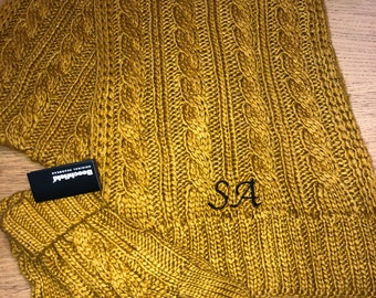 Personalised scarf with matching gloves, cable knit