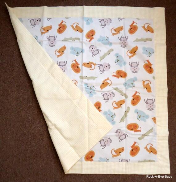 Self Binding Blanket Baby Zoo Animals Flannel Baby Blanket