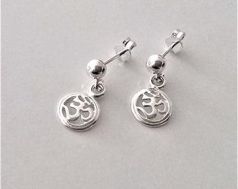 0dd872939 Small Sterling Silver Stud Earrings, Tiny Ball Post Earrings, Om Charm  Earrings, Dangle Earrings, Boho Minimalist Earrings.