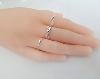 flat bead stacking ring gold filled or sterling silver simple dainty minimalist ring Dotted band ring
