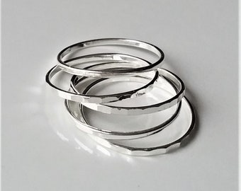 Super Skinny Sterling Silver Ring, Dainty Thin Stacking Rings, Minimal Trendy Jewelry.
