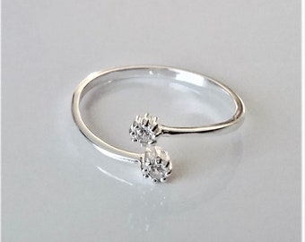 Sterlilng Silver Adjustable Ring, CZ Diamond Stackable Ring, Dainty Stacking Ring, Bypass Ring, Minimalist Style Dainty Ring, For Women.