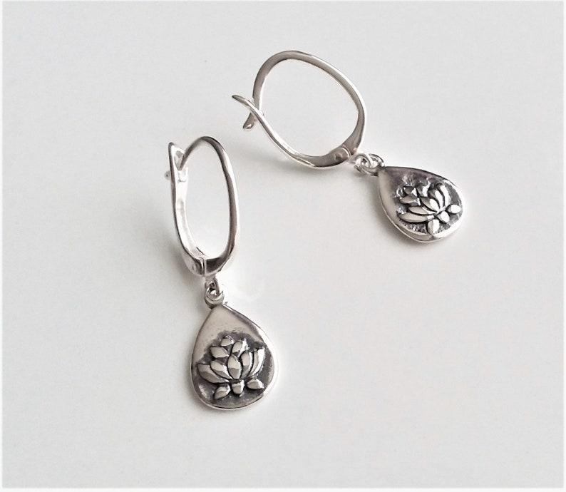 Teardrop Charm Dangle Earrings Small Sterling Silver Teardrop Earrings Lightweight Drop Earrings Lotus Earrings For Women and Girls.