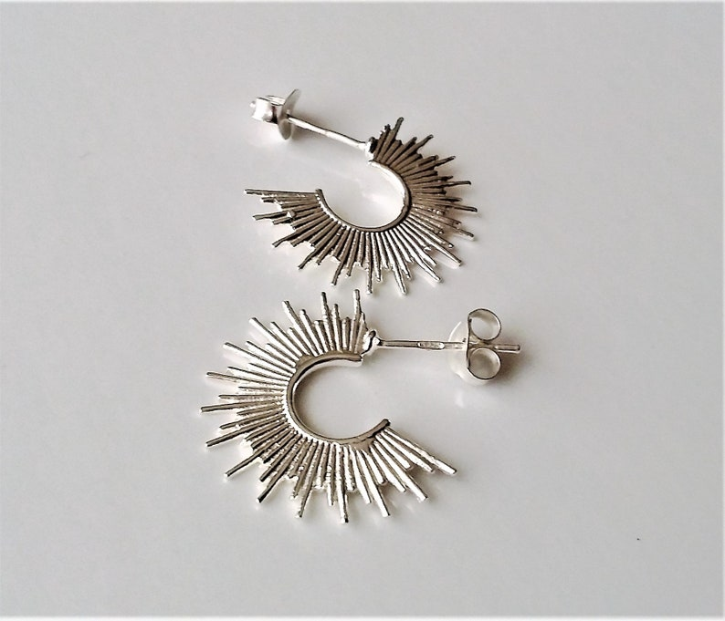 925 Sterling Silver Small Hoop Earrings Modern Style Silver Hoops Women Men Unisex Post Earrings.