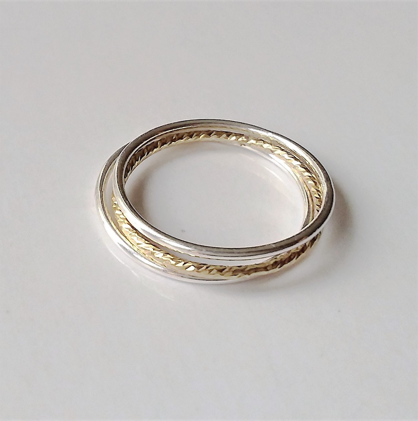 set of 3 stackable rings silver gold stacking ring thumb. Black Bedroom Furniture Sets. Home Design Ideas