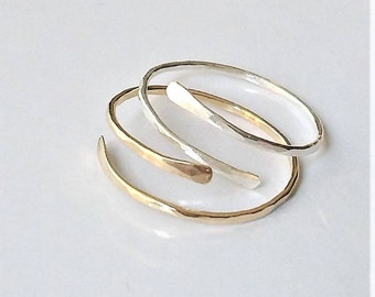 Thin Bypass Stacking Ring, Sterling Silver Dainty Ring, Gold Filled Skinny Ring, Single Minimalist Ring.