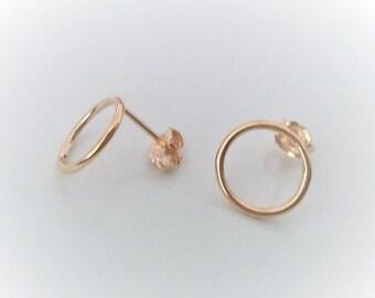 Gold Stud Earrings, Circle Gold Studs, Small Geometric Earrings, Dainty Minimalist Earrings.