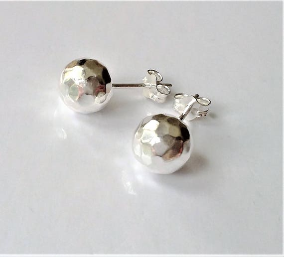 3c185a5c2 8mm Sterling Silver Ball Stud Earrings Hammered Ball Stud   Etsy