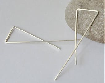 "2"" Sterling Silver Threader Earrings, Open Hoop Earrings, Geometric Hoop Earrings, Triangle Earrings, Minimalist Earrings."