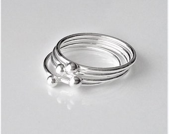 Sterling Silver Dainty Stacking Ring, Minimalist Skinny Ring, Thin Silver Ring, Thumb Rings For Women, Dot Ring, One Stack Ring.
