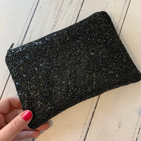 Black glitter clutch bag glitter clutch bag evening clutch   Etsy 6b723d63b3