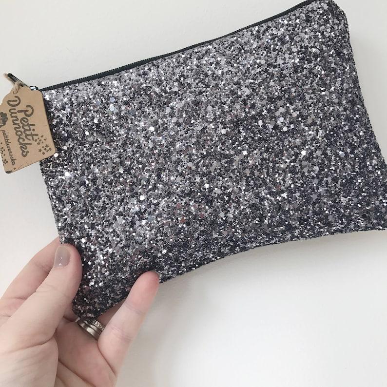 fc73b7a0433 Grey glitter bag gunmetal clutch Glitter clutch bag dark | Etsy