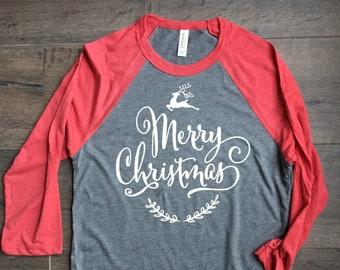78e8d2125 Merry Christmas, deer, womens shirt, raglan, unisex, red and gray