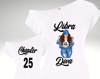 Libra Curvy Diva Off The Shoulder Shirt-Libra Woman's Birthday Shirt-September  October Birthday Shirt-Personalize with Chapter and Name