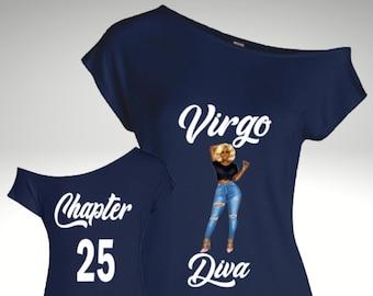 Virgo Diva Off The Shoulder Shirt-Virgo Woman Birthday Shirt-Personalized Virgo Women's Birthday Shirt