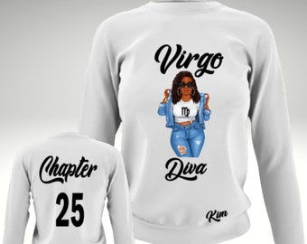 Virgo Curvy Diva Personalized Sweatshirt-Aries Women's Personalized Birthday Shirt-Personalize with Chapter and Name