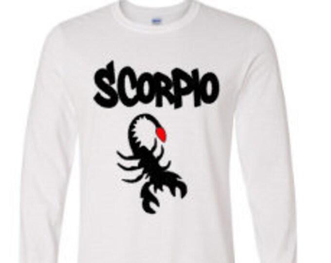 Scorpio Personalized Mens Long Sleeve Shirt-Mens Zodiac Shirt-Mens Birthday Shirt-Boyfriend/Husband Birthday Gift