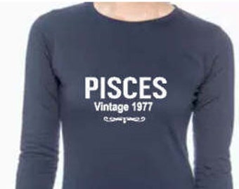 Pisces Birthday Vintage Shirt Personalized Women's Long Sleeve T Shirt Birthday Zodiac Shirt February Zodiac Shirt March Zodiac shirt