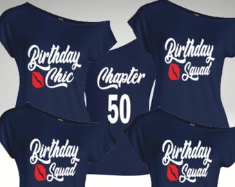 Birthday Chic Birthday Squad Personalized Off The Shoulder Shirts-Group Birthday Shirts-Personalized Women's Birthday Shirt