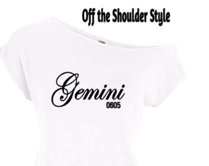 Gemini Zodiac Birthday Shirt-Off the Shoulder Shirt-June Birthday May Birthday Shirt  Gemini Customized Birthday Zodiac Birthday Day