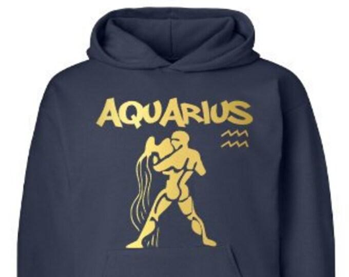 Aquarius Zodiac Men's Birthday Hoodie Personalized/Aquarius Men's Birthday Hoodie/Mens Personalized Hoodie/Mens Customized Hoodie