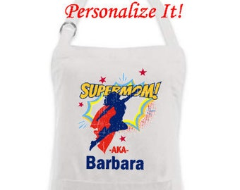 Super Mom Apron-Personalized Gift for Mom-Customized Novelty Apron-Great Mother's Day Gift-Birthday Gift Idea