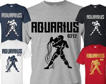 Aquarius Zodiac Men's T-Shirt Mens Aquarius Birthday Shirt Mens Zodiac Shirt Mens Birthday Gift Mens  Personalized Birthday Shirt