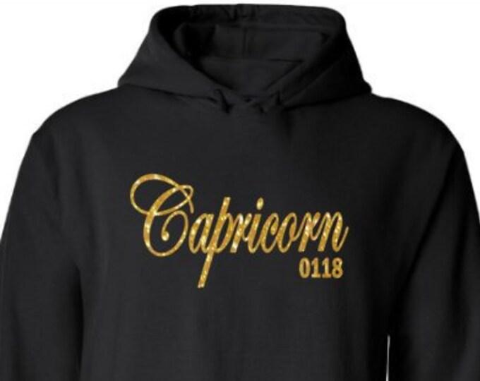 Capricorn Birthday Hoodie/Personalized Zodiac Birthday Hoodie/Custom December Birthday/January Birthday/Women's Birthday Hoodie