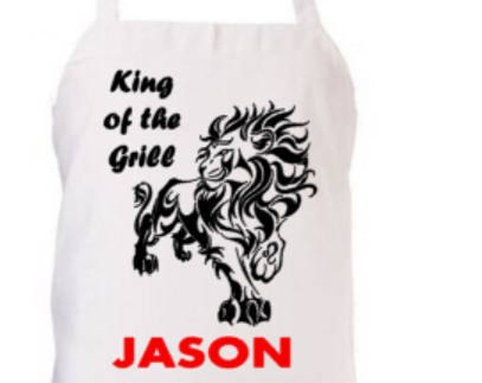 Personalized/Customized/Novelty Apron- King of the Grill Great Gift for Him