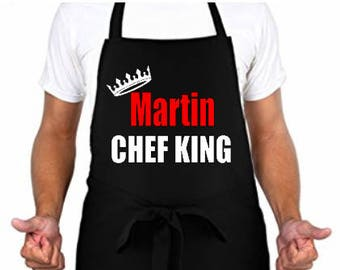 Personalized/Customized/Novelty Apron Chef King-Great Father's Day/Birthday/Housewarming Gift