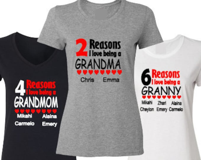 Grandmom Personalized Shirt-Customized Grandmother Shirt-Gift Idea for Granny-Mother's Day Gift Idea-New Grandmom Gift-New Grandmother Gift