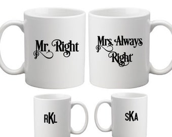 Mr. Right and Mrs. Always Right Mug Set Personalized with Monogram