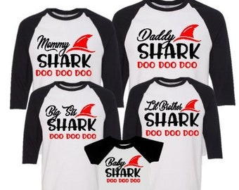 Family Personalized Shirts-Baby Shark Matching Shirts-Matching Mom Dad Son Daughter Shirts-Family Vacation-Family Trip-Birthday Party Shirts
