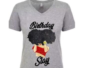 cab970bd1cb2 Birthday Slay- Women's Birthday T-Shirt-Birthday Girl Shirt-Shirt with  Monogram-Personalized Shirt-Girlfriend Gift-Best Friend Gift