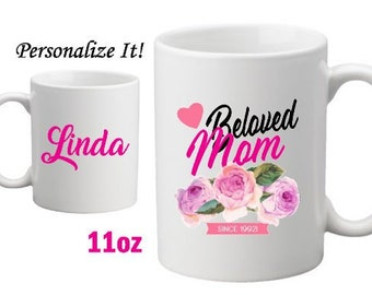 Beloved Mom Personalized Mug- Mom Customized Mug-Gift Idea for Mom-Mother's Day Gift-New Mom Gift