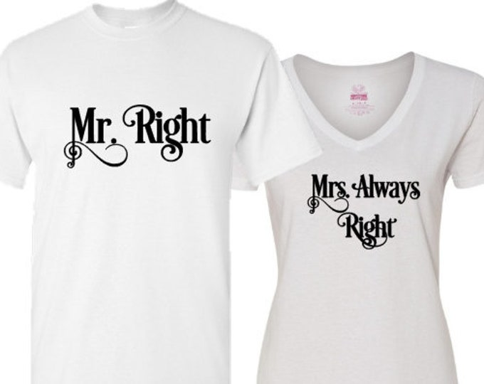 Couple's Matching Shirts Wedding/Anniversay/Vacation T-Shirts with Optional Monogram