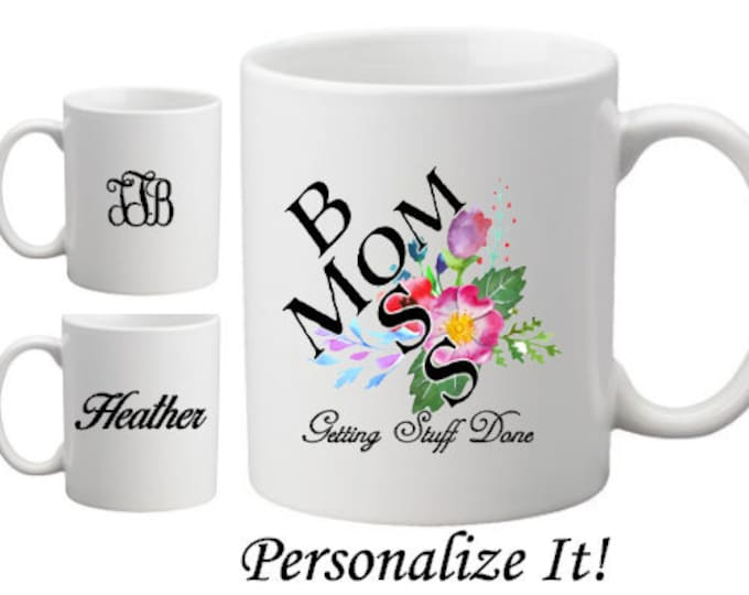 Mom Boss Personalized Mug-Customized Mug-Gift Idea for Mom-Mother's Day Gift-New Mom Gift-Monogrammed Gift Idea