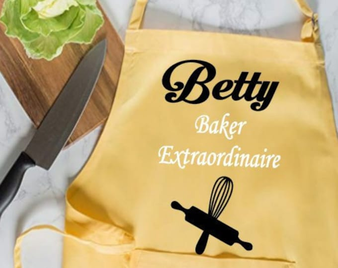 Baker Extraordinare Apron, Personalized Apron, Customized Apron, New Cook Apron, New Chef Apron, Housewarming Gift, Cooking Gift for Men