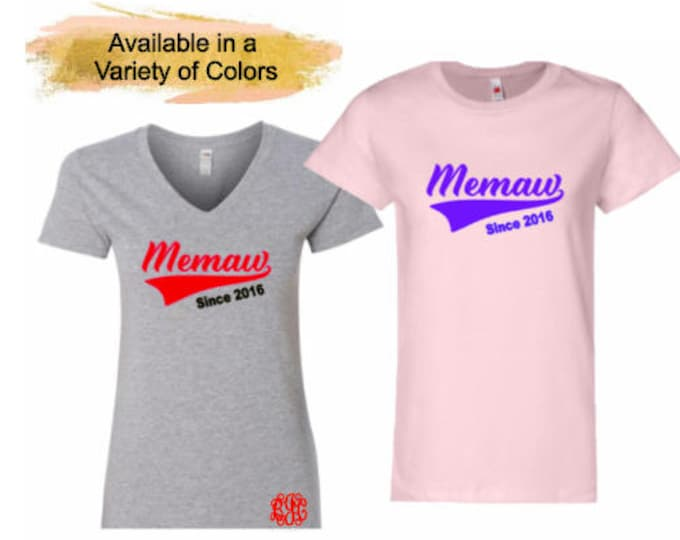 Memaw-Grandma T-Shirt with Optional Free Monogram-Grandparents Day-Mother's Day-Birthday Gift