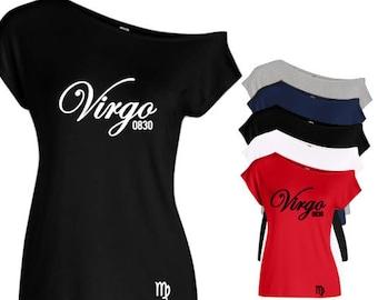 Virgo Women's Personalized Zodiac Off The Shoulder Shirt-Virgo Women's Personalized Birthday Shirt